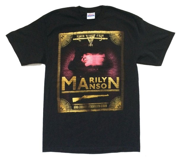 Marilyn Manson High End Of The Low Arma Geddon Black T Shirt Med New Official 100% Cotton Print Mens Summer O-Neck