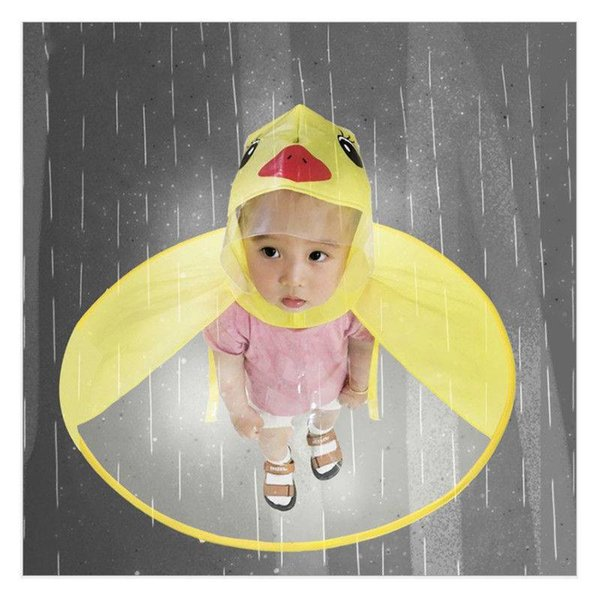 top popular New Unisex Cute Cartoon Duck Children Raincoat Umbrella UFO Shape Rain Hat Cape hands-free Children Rain Gear 2019