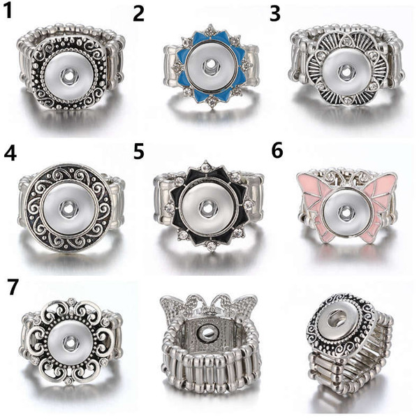10pcs/lot Snap Ring for 12 MM Snaps Metal Silver Ginger Snap Rings Snap Jewelry Button Adjustable Ring