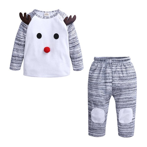 Baby Boy Cartoon Deer Outfits Christmas Clothing Sets Boys Cotton Long Sleeve Tops Pants 2pcs Sets For Fall Winter Kids Reindeer Suit