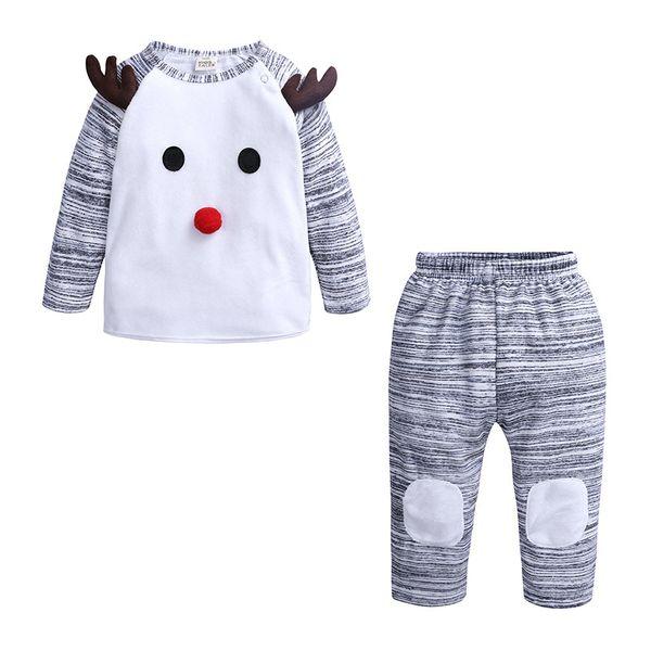 Мальчик мультфильм олень наряды Рождество одежда устанавливает мальчиков хлопок с длинным рукавом брюки 2 шт. наборы для Осень Зима дети оленей костюм