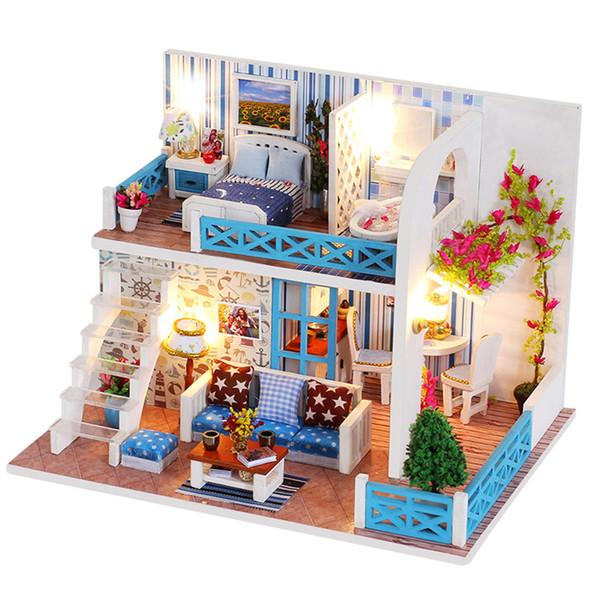 Casas de boneca de madeira presente de natal diy casa de bonecas em miniatura casa de bonecas kit de brinquedos para as crianças