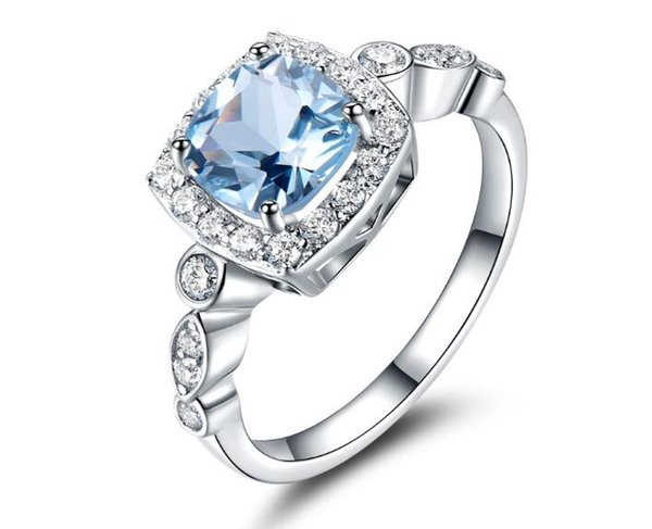 Real S925 Sterling Silver Rings for Women Blue Topaz Ring Gemstone Aquamarine Cushion Romantic Gift Engagement Jewelry