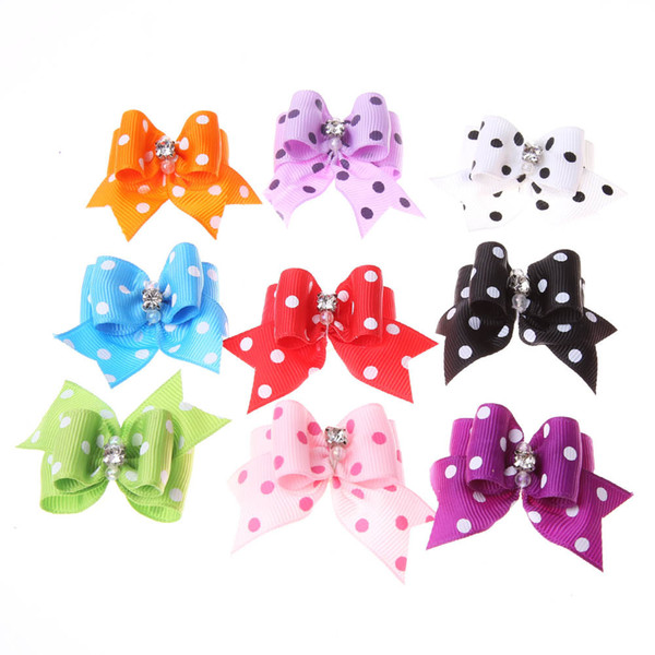 Fashion 4*2cm Fabric Dots Bowtie Dogs Hair Accessories Pet Hair Bows Grooming Gift Products Cute Dog Ornaments Supplies