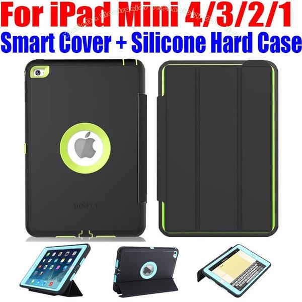 Für iPad Mini 4/3/2/1 Smart Cover + Silikon TPU Hard Case Kids Safe Armor Stoßfest Heavy Duty mit Displayschutzfolie IM408