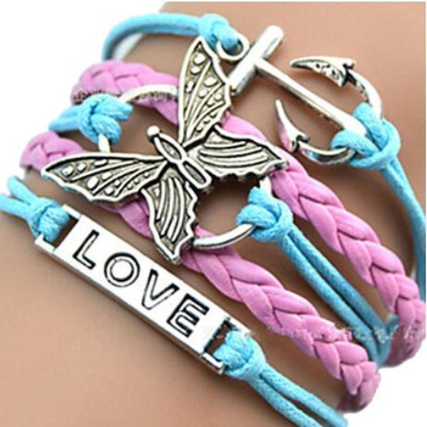Infinity Charm Bracelets Leather Bracelets Creative Handmade Rope Butterfly Boat Anchor LOVE Hot Sale Fashion MultilayerJewelry