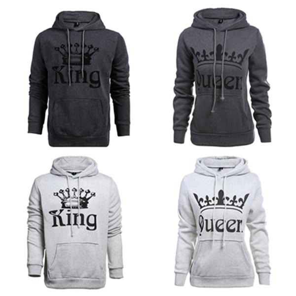 Mode Print KÖNIG KÖNIGIN Buchstaben Paar Hoodies Winter Fleece Liebhaber Tasche Pullover Kapuzenpulli Valentinstag Kleidung