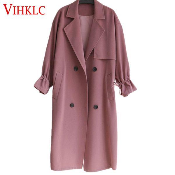 2017 New Hot Spring Autunno Cappotti Donna Trench Manica Lunga Moda Turn-Down Collar Overwear Abbigliamento XS-XXL H885