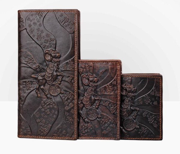 Goat Printing Men's wallet Genuine Leather Men's long clutch bag Genuine Leather Men Wallets Vintage Hand Made Credit Card Wallet