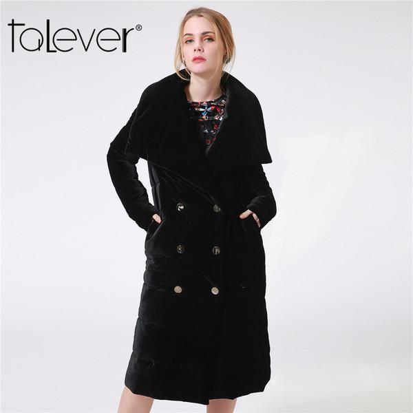 Damen warme Mantel lange Samt Parka Winterjacke Mode große Kragen verdicken schwarze Frauen Parkas weibliche Daunenjacke Talever