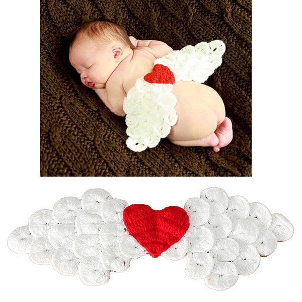 Lovely Newborn Photography Props Baby Heart Angel Wings Hats Character Handmade Beanies Baby Cap Baby Accessories Christmas Gift