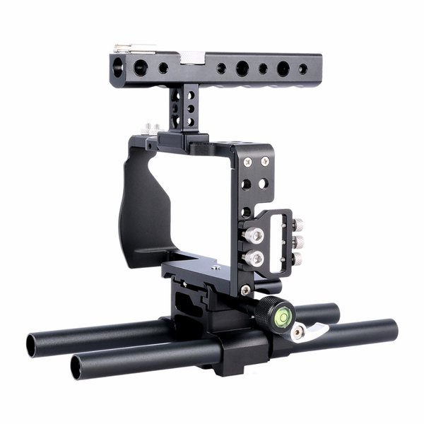 wholesale C6 Dslr Camera Cage Rig Kit Video Film Making System with Top Handle and 15mm Rod For Sony a6500 a6300 a6000