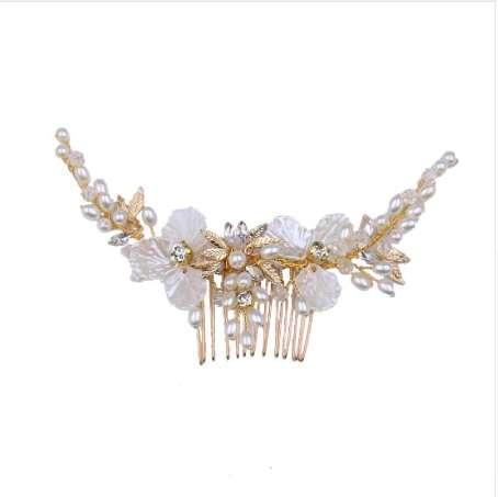 Elegant Crystal Rhinestone Flower Gold Leaf Comb for Hair Wedding Bride Hair Comb White Floral Women Hair Jewelry Accessories SL
