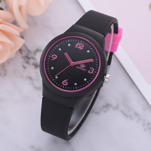 Luxury women Silicon Strap Wristwatch Fashion Ladies Solid Pattern Watches Quartz ladies Wrist Watch Clock montre femme 2018