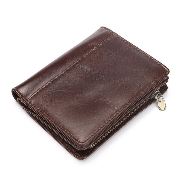 New Cow Leather Wallet Men Wallets Small Zipper Men's Wallet Coin Zipper Mini Male Purses Money Bag Clutch