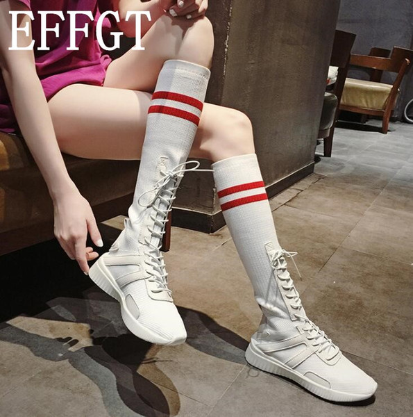 EFFGT 2018 fashion High help long Female Boots Women Knee Boots student Leisure Stretch flats Lace-up women shoes H833