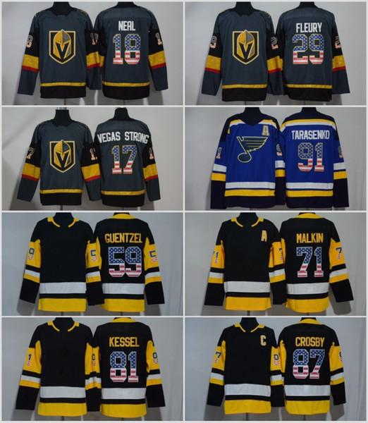 USA Flag Premier Jersey 18 James Neal 29 Marc-Andre Fleury 17 Vegas Strong 91 Steven Stamkos 87 Sidney Crosby 59 Jake Guentzel Malkin Kessel