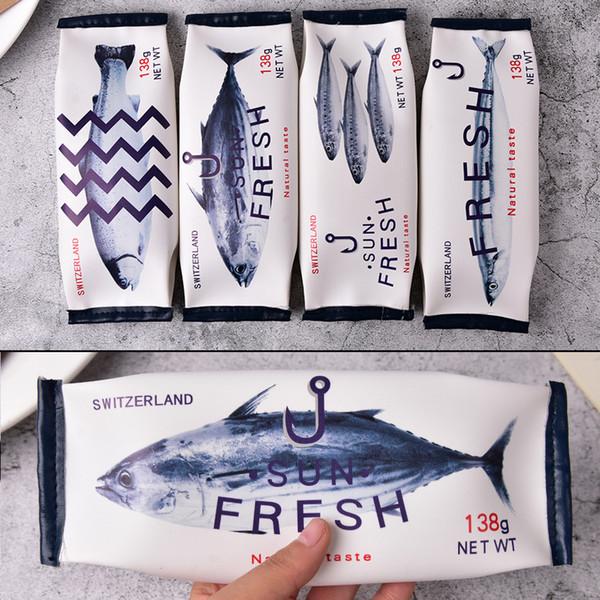 Kawaii 4 style Estojo Escolar Material Escolar PU Leather Cosmetic Bag Makeup Bag Case Novelty Fish Case
