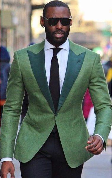 Yüksek Kalite Açık Yeşil Erkekler Düğün Smokin Ile Mükemmel Damat Smokin Koyu Yeşil Tepe yaka Erkekler Blazer 2 Parça Suit (Ceket + Pantolon + Kravat) 148