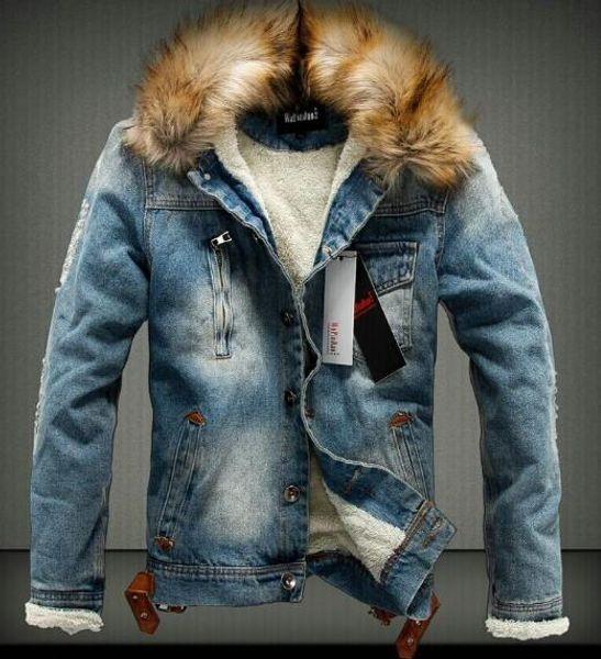 Зимняя одежда Мужская Джинсовая Куртка Теплая Джинсовая Толстая Верхняя Одежда Меховой Воротник Горячее Ковбойское Пальто Пальто Парки Новый