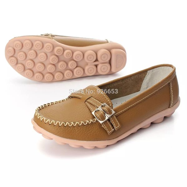 Hottest Design Womens Ladies PU Leather Shoes Slip-on Ballet Women Flats Comfort Anti-skid Female Shoes 4 Colors Moccasins