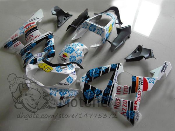 100%Fit fairings For Honda CBR 929 900 RR 929RR 00 01 900 2000 2001 CBR900RR 2000 20001 injection Fairing Kit Blue White Bodywork