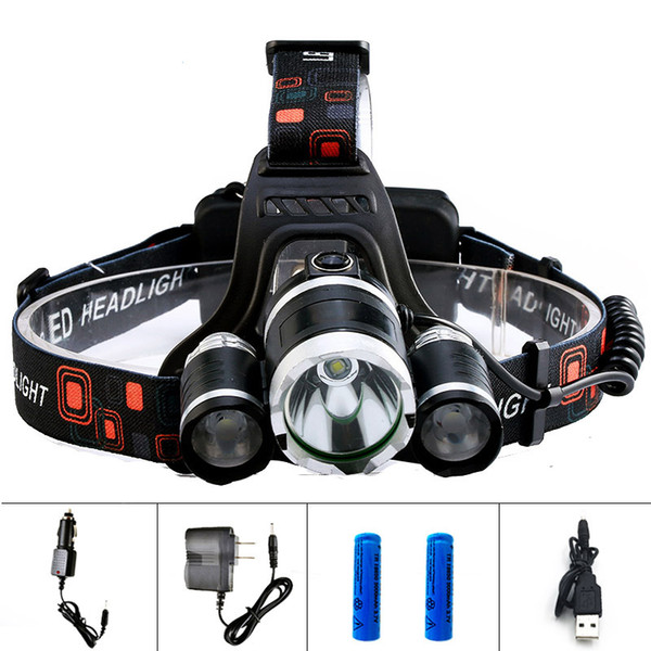 XML T6 2 R5 Led Headlight Head Torch Headlamp 13000LM 4 Mode Head Flashlight for Hunting Fishing LED 18650 Head lamp