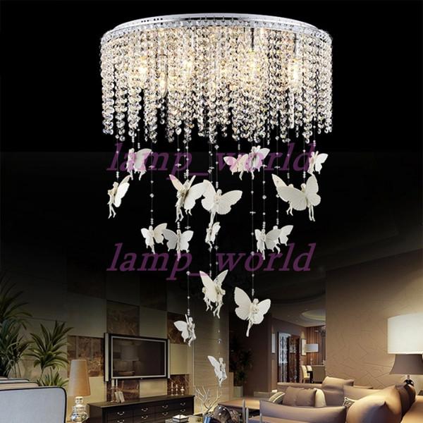 Europäische Runde Kristall Lampe Prinzessin Engel Schmetterling Kronleuchter  Pendelleuchten Beleuchtung Für Wohnzimmer Deckenleuchte Schlafzimmer ...