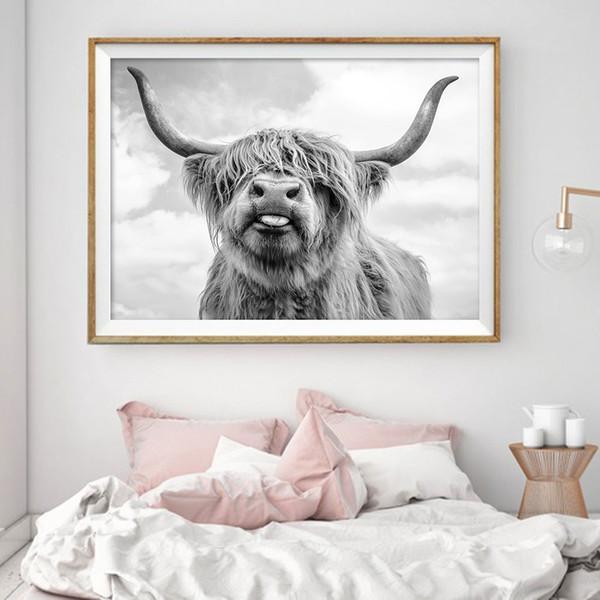 Nordic Dekoration Highland Cow Cattle Wandkunst Leinwand Poster und Print Tier Leinwand Malerei Bild für Wohnzimmer Wohnkultur