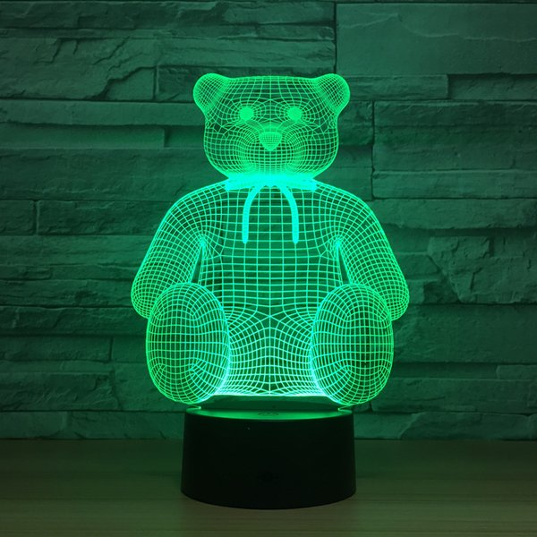 y Teddy Bear Hold Love Heart Balloon 3D USB LED Lamp Table Night Light Home Room Decor Kids Toy Decoration Light Wholesale Dropshipping