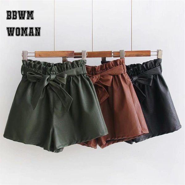 2018 Autumn PU Leather Elastic Waist Shorts Khaki Army Green Black Color Bowknot Decor Young Lady Shorts ZO618