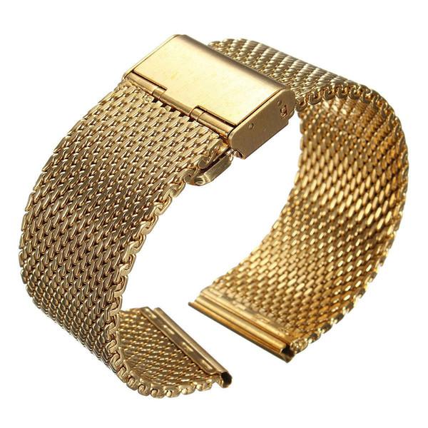 YCYS! New 18mm Bracelet Shark Mesh Bande inoxydable double fermoir en acier Bracelet en or