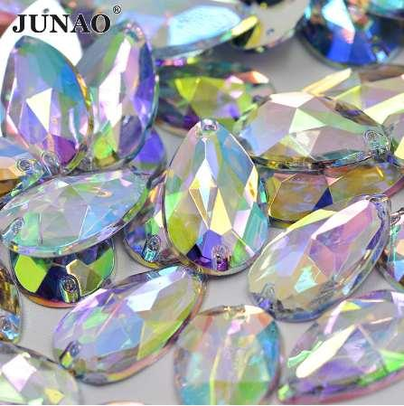 JUNAO 17 * 28mm Tamanho Grande Cristal De Costura AB Queda de Pedrinhas Apliques Planas de Volta Grande Acrílico Cristais Pedras Sew Em Contas Claras