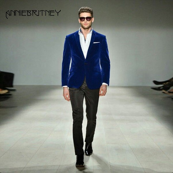 Royal Blue Velvet Suit for Men 2018 2 Pieces Formal Suits Slim Fit Groom Tuxedos Handsome Best Men Blazer Jacket+Pants Masculino