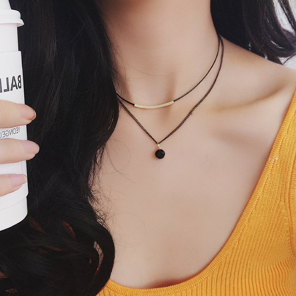 2018 new double-layer clavicle chain, lady neck with neck jewelry hundred-lap collar, adjustable necklace wholesale