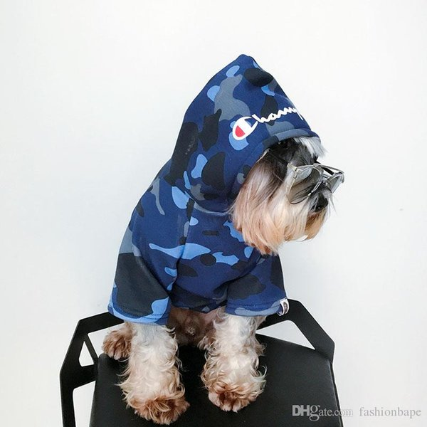 Camouflage Hoodies For Pets Dog Cute Teddy Puppy Schnauzer Apparel Winter Warm Outwears Fashion Brand Hooded Coat Fleece Sweater Clothing