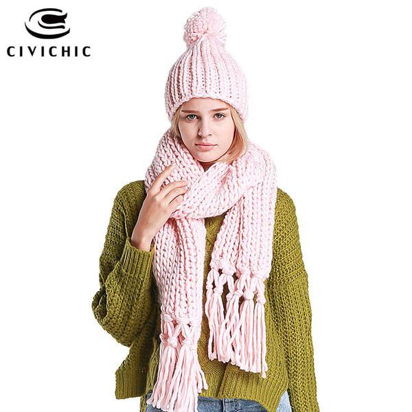 CIVICHIC 7 colori di alta qualità handmade sciarpa cappello due pezzi set crochet nappa torsione lungo addensare scialle caldo chic headwear SH105