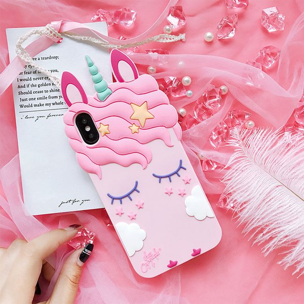 Cute Unicorn Phone Cases For iphone X 7 8 plus Cellphone Case Soft Silicone Back Cover For Iphone 5 5s Shell Cheap Free DHL A762