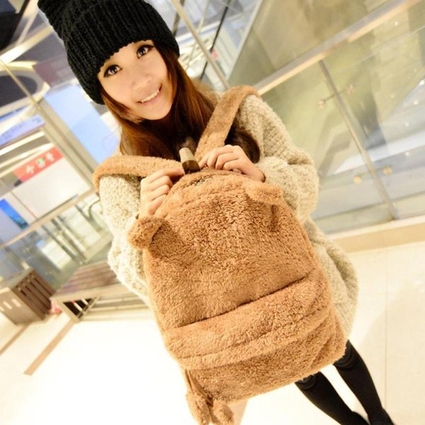 Female Backpack For Teenagers Girl Korean Cute Solid Color Plush Cat Ears Backpack Student Bags Laptop Travel Rucksack3