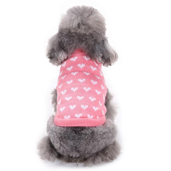 Pembe Ter-Kalp Sevimli Köpek Kazak Kostüm Yuvarlak Yaka Ince Pet Köpek Giyim Tığ Köpek Kazak