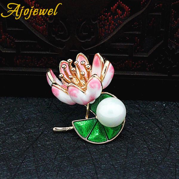 Ajojewel pintura colorida hermosa flor de loto simulado perla broche esmalte estilo chino joyería de las señoras