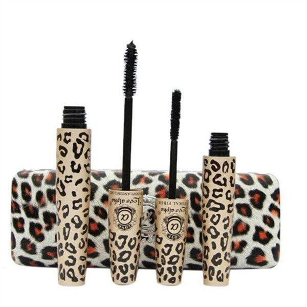 Chegada nova Leopardo Amor Impressão Alfa Black Eye Mascara Longo Pestana Escova de Silicone curvo alongamento rímel Maquiagem À Prova D 'Água