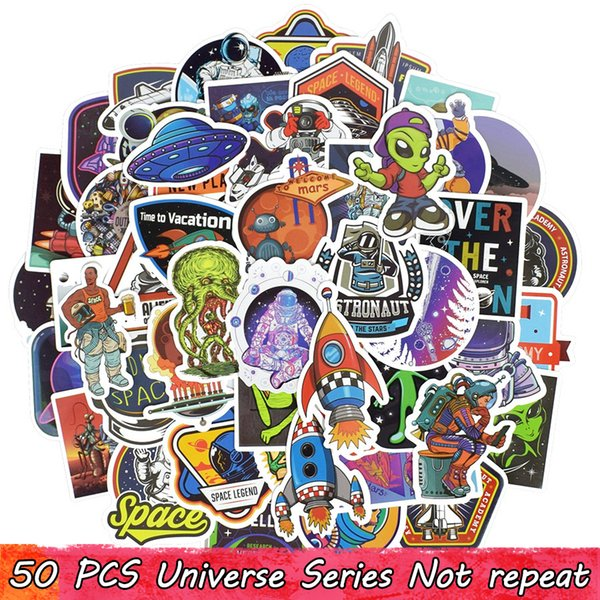 50 PCS Waterproof Universe UFO Alien ET Astronaut Stickers Poster Wall Stickers for Kids DIY Room Home Laptop Skateboard Luggage Motorcycle