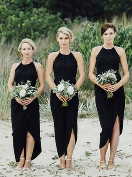 Simple Halter Black Sheath Short Bridesmaid Dresses 2018 New Arrival Cheap Unique Side Slit Bridesmaid Gowns For Bridal Wear Party Dress