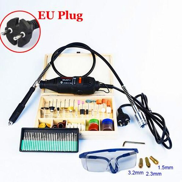 [EU Plug] 220V 130W [Dremel Type] Variable Hardware Tools Electric Mini Drill 130pcs Accessories Flexible tube FREE SHIPPING