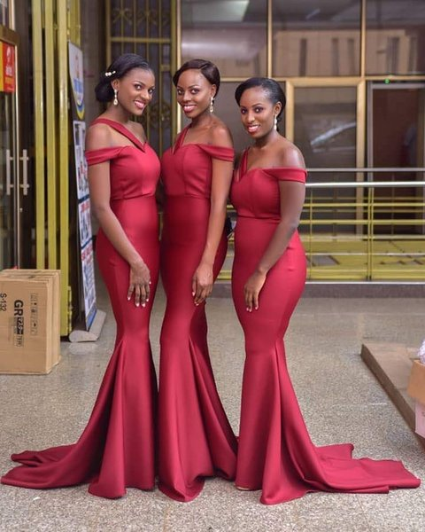 African Nigerian Dark Red Mermaid Bridesmaid Dresses Satin Cheap Floor Length Pleats Maid of Honor Dress Formal Gowns robes de demoiselle