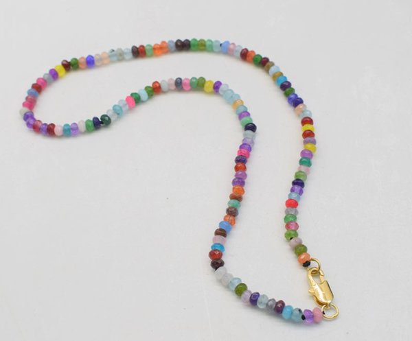 jade multicolor roundel faceted necklace 4*2mm 16.5inch chocker FPPJ wholesale  nature blue rabinbow