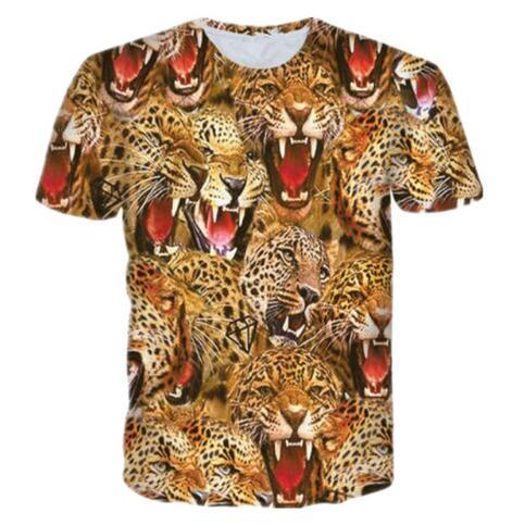 Animal 3D Print Tiger Nature Forest T Shirt Summer Short Sleeve Quick Dry Tops Fashion Women/men Comfortbale Clothing Tees 6XL
