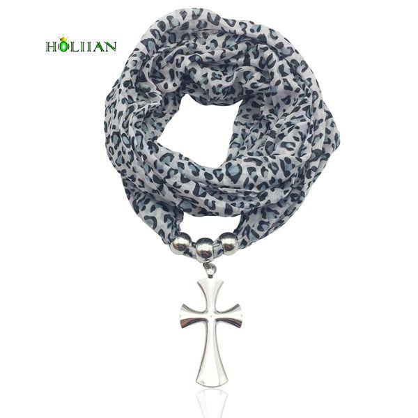 Women trendy scarf necklace silver cross pendent jewelry wrap bandana ethnic foulard lic female accessories rose leopard black