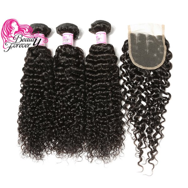 Beauty Forever Malaysian Curly Hair 3 Bundles With Closure Three Part Lace Closure Natural Color 8A Unprocessed Human Hair Free Ship 4 PCS